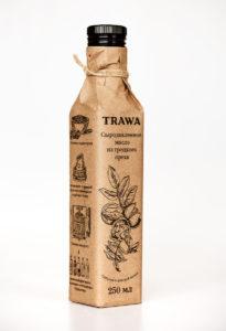 Масло Грецкое Сыродавленное TRAWA бутылка 0,25 ребром